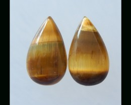 Tiger Eye Cabochon Pair - 20x11x5 MM