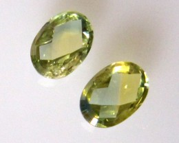 1.10cts  Matching Pair Natural Parti Sapphires Oval Checker Board 2pcs Beau