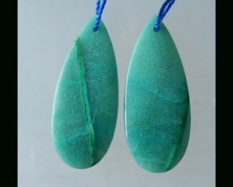 Natural Chrysocolla Earring Bead  - 36x15x4 MM