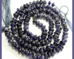 A GRADE IOLITE 4.00-5.00MM SMOOTH BUTTON BEAD STRAND-GREAT COLOR!!