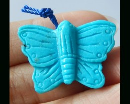 100% Handmade Sleepy Beauty Turquoise Butterfly Carving -  30X20X9 MM