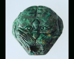 163Cts Turquoise Gemstone  Lion Carving  - 43x44x12 MM
