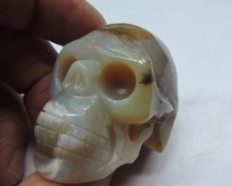 555 CTS  CARVED  JASPER GEMSTONE SKULL AGR 607