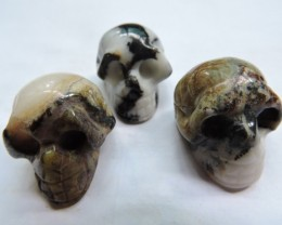 285 CTS (3) CARVED JASPER GEMSTONE SKULL AGR 615