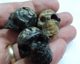310 CTS (3) CARVED JASPER GEMSTONE SKULL AGR 618
