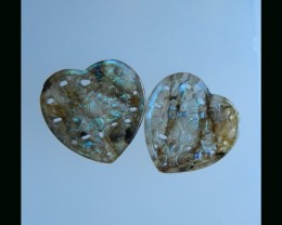 Heart Shape Labradorite Carving Pair - 23x23x4 MM ,29 Cts