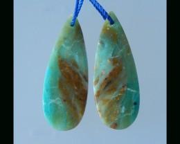 Bi Color Blue Opal Teardrop Earring Bead - 35x14x5 MM