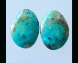Natural Chrysocolla Cabochon Pair - 27x19x5 MM