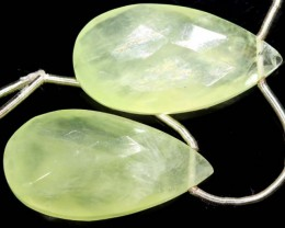 PREHNITE CARVED DRILLED BEAD  24  CTS  LG-440
