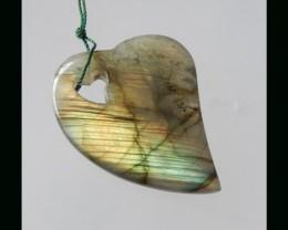 42ct  Special Gift Beautiful Shining Labradorite Heart Shape Pendant Bead -