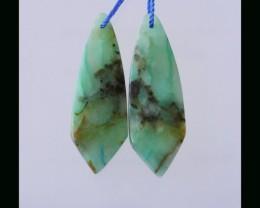Natural Chrysocolla Earring Bead - 37x12x4.5 MM