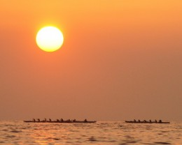 Kailua Kona canoe racing practice.