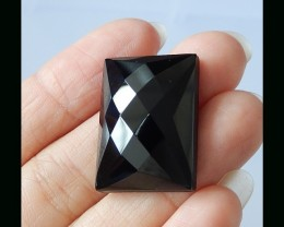 P0553 - 40cts Natural  Faceted Obsidian Gemstone Square Cabochon
