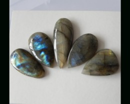 Natural Labradorite Cabochon Set - 39x15x6 MM