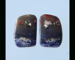 Natural Tiffany Opalised Cabochon Pair - 24x16x4 MM
