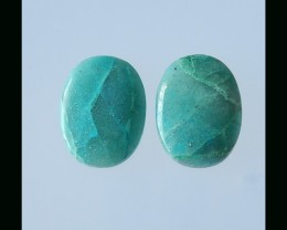 Natural Oval Chrysocolla Cabochon Pair - 20x15x5 MM