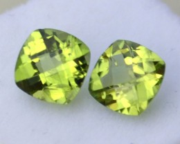 2.04 Carat Matched Pair of Great Cushion Checkerboard Peridot