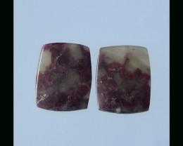 P0360 - 35.5cts Natural Tourmaline Cabochon Square pair