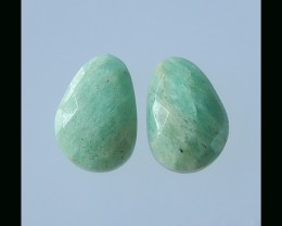 Natural Amazonite Faceted Cabochon pair - 20x14x6 MM
