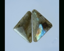 Natural Labradorite Cabochon pair - 31x19x6 mm