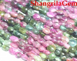 "6mm 7mm WATERMELON TOURMALINE oval smooth pebble tumble beads 14"" tou0"