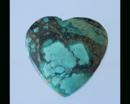Vintage Heart Turquoise Pendant Bead - 29x30x9 MM,48.5 Cts