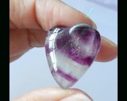 Heart Shape Fluorite Pendant Bead - 25x22x10 MM