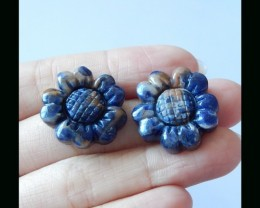 Sunflower Carving Sodalite Pair - 21x7 MM