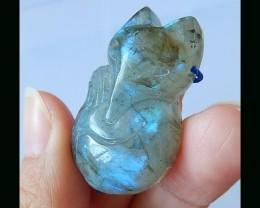 Labradorite Wolf Carving Pendant Bead - 36x21x10 MM
