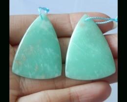 Natural Chrysoprase Earring Bead - 36x26x5 MM