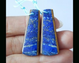 Natural Lapis Lazuli , Tiger Eye Intarsia Earring Bead - 33x13x4 MM,32.75Ct