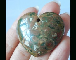 Rainforest Jasper Heart Shape Pendant Bead - 34x38x8 MM