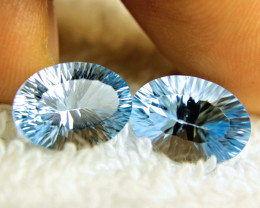 13.79 Tcw. Matched Concave Cut VVS Blue Topaz