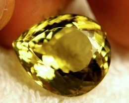 25.54 Carat VVS1 Brazilian Lemon Quartz Pear