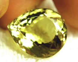 25.54 Carat VVS1 Brazilian Lemon Quartz Pear