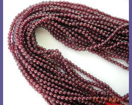 2 STRANDS OF AA 3.00MM SMOOTH ROUND MOZAMBIQUE GARNET BEADS - BEAUTIFUL