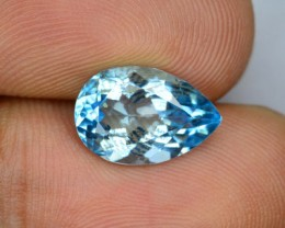 3.90 Cts SOuth American Blue Topaz Pear Cut Gemstone