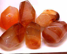 128CTS CARNELIAN BEAD DRILLED (6PC)  NP-536