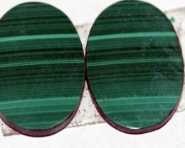 Natural Malachite  Matched Oval Pair 15ct Nice Marking MP01
