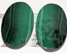 Natural Malachite  Matched Oval Pair 15ct Nice Marking MP05