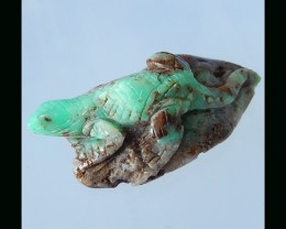 Chrysoprase Lizard Carving  - 41X22X14 mm