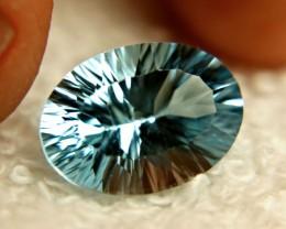 6.8 Carat VVS Blue Brazil Concave Cut Topaz - Beautiful