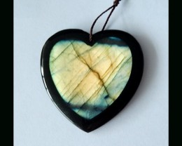 Amazing Labradorite ,Black Agate Intarsia Heart Pendant Bead ,With Beautifu