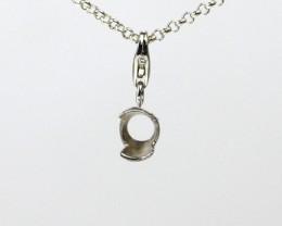 5mm Round Half Bezel set Charm/Pendant Sterling Silver (925)