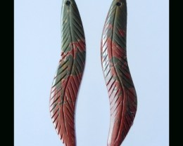Multi Color Picasso Jasper Feather Carving Bead Pair - 42x7x4 MM