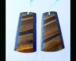Lapis Lazuli ,Tiger Eye Intarsia Earring Bead - 30x18x5 MM