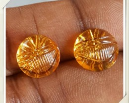 9.40 Cts DAZZLING GOLDEN YELLOW NATURAL CITRINE-GARVING 2 PCS