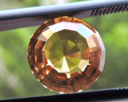 3.10ct ROUND FACETED BRAZILIAN CITRINE GEMSTONE CUT IN THE U.S (MJ88)