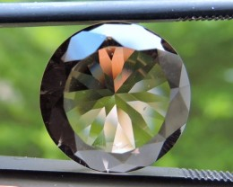 6.95ct ROUND FACETED BRAZILIAN SMOKEY QUARTZ GEMSTONE CUT IN THE U.S (MJ94)