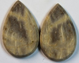 31.30 CTS JASPER PAIR POLISHED STONE GREAT RANGE IN STORE